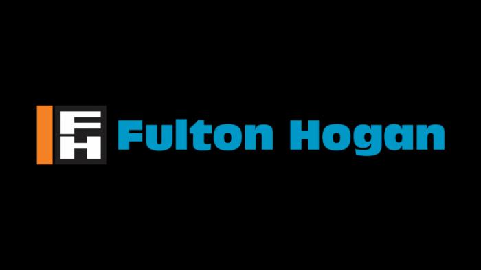 fulton hogan logo, transparent, orange, black, sky blue